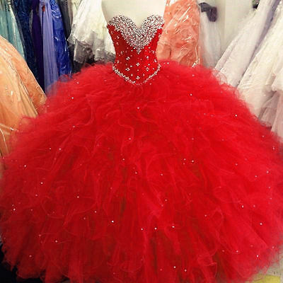 Women/'s New Sweetheart Beaded Red Quinceanera Dresses 2020 Ball Gown Prom dress