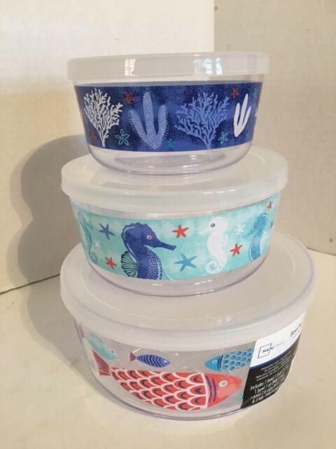 Mainstays 6-Piece Bowl Set with Lids Sea Life Design Dishwasher Safe NEW