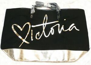 8f7c3d5e2adc10 Victoria's Secret Black and Gold Carryall Zippered Tote Bag NWT | eBay