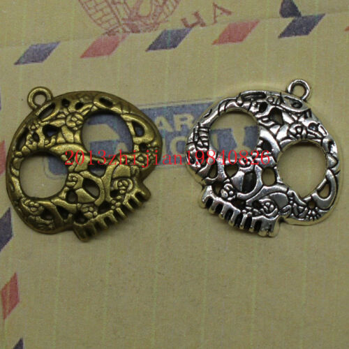 wholesale 8//24pcs Antique silver lovely delicate masks skull charm pendant
