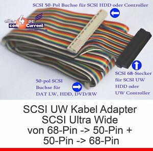SCSI UW KABEL ULTRAWIDE ADAPTER VON 68-POL AUF 50-POL & UMGEKEHRT 68-PIN 50-PIN