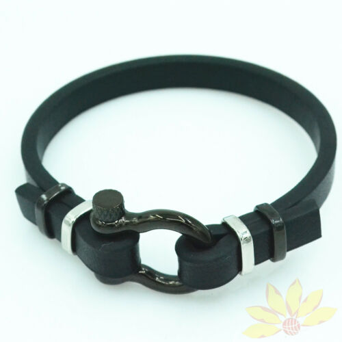 Man Woman All Black Leather 8.2/'/'Biker Stainless Steel Screw Bracelets Wristband