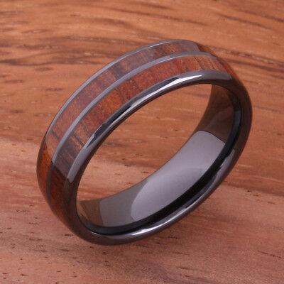 Koa Wood Inlaid High Tech Black Ceramic Double Row Wedding Ring 6mm TUR4012