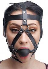 Leather HEAD HARNESS BALL MOUTH GAG slave costume face strap mask prisoner black