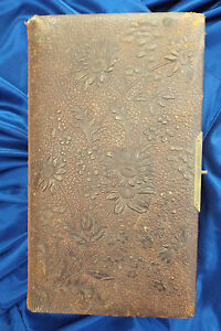 Antique-Photo-Album-Leather-32-Pictures-Tintypes-CDV-Late-1800-039-s