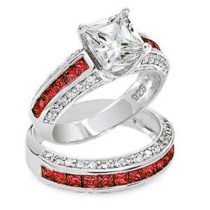 Thin Red Line 7mm Princess Cut Stone Engagement Ring Set eBay