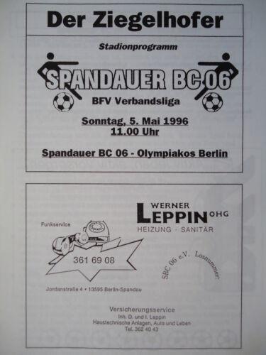 Programm 1995//96 Spandauer BC Olympiakos Berlin
