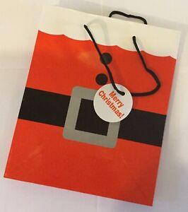 Christmas-gift-wrap-bag-Santa-suit-18-x-22cm-gift-tag-merry-Christmas-xmas