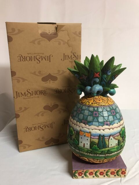 Jim Shore Heartwood Creek Welcome All Pineapple Figurine #4007666 Excellent w Bx