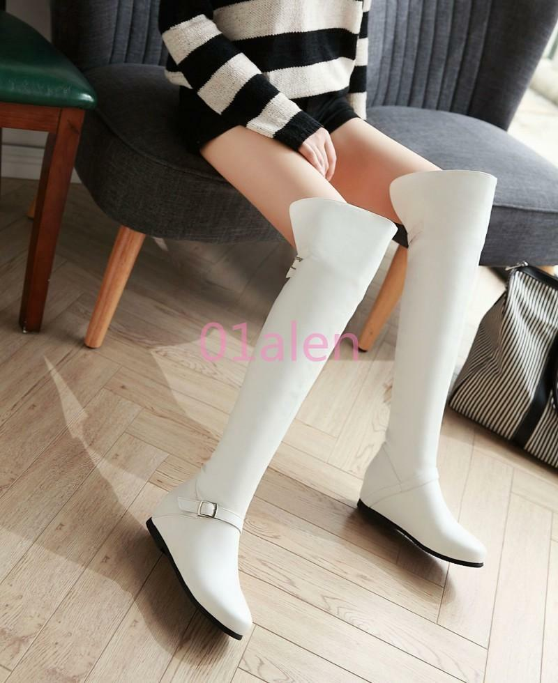 Over The Knee Long Boots High Wedge Heel Zipper shoes Womens Fashion US4-10.5