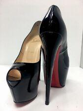 Louboutin Shoe Black Patent Double Platform  Peep Toe New Size 38 1/2