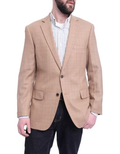 Mens 54R Arthur Black Classic Fit Tan Plaid Windowpane Two Button Wool Blazer...