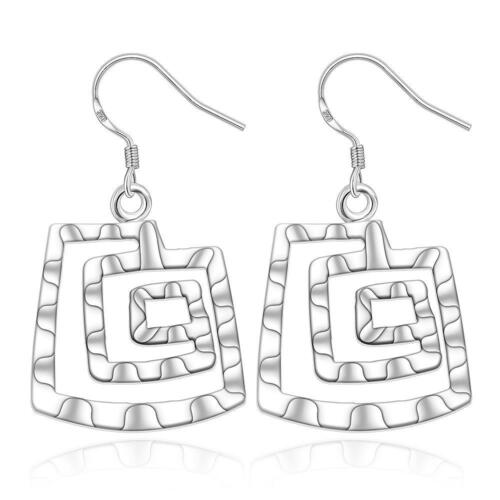 925 Silver Plated Square Thread Spiral Dangle Hook Earrings Fashion Jewelry DE