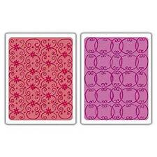 NIP Sizzix Textured Impressions Embossing Folders 2PK Flower Vine Twizzle 656799