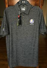 NWT Under Armour Men's Gray 2016 Ryder Cup Hazeltine US Golf Polo Shirt Large LG