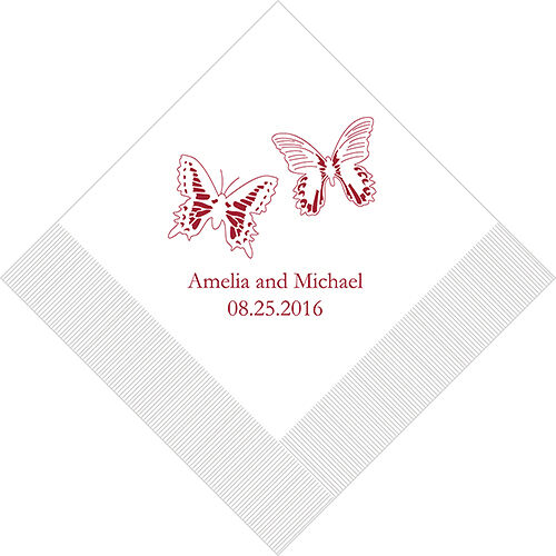 300 Multi Butterfly Printed Wedding Luncheon Napkins