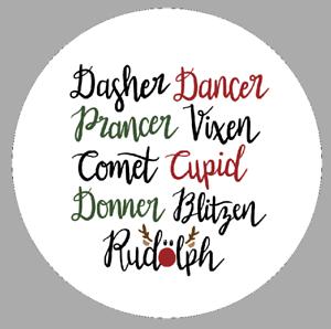 Santa/'s Reindeer Names Labels Circular Novelty Gift Packet or Jar Stickers