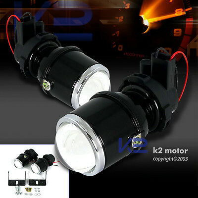 H3 Clear Glass Lens Projector Fog Lights Driving Lamps Kit+Brackets Left+Right