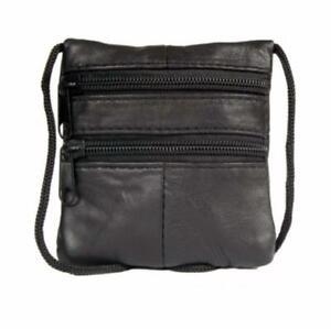New-Real-Leather-Shoulder-Mini-Neck-Purse-Cross-Body-Travel-Satchel-Bag-Black