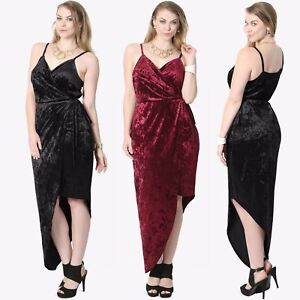 TheMogan PLUS Velvet Plunge V-Neck Strappy High Low Night Cocktail Wrap Dress