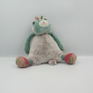 Doudou-musical-chat-bleu-gris-vert-rose-les-Pachats-MOULIN-ROTY-Chat-Lion