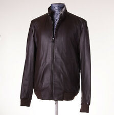 NWT $3550 ISAIA NAPOLI Chocolate Brown Lambskin Leather Bomber Jacket M (Eu 48)