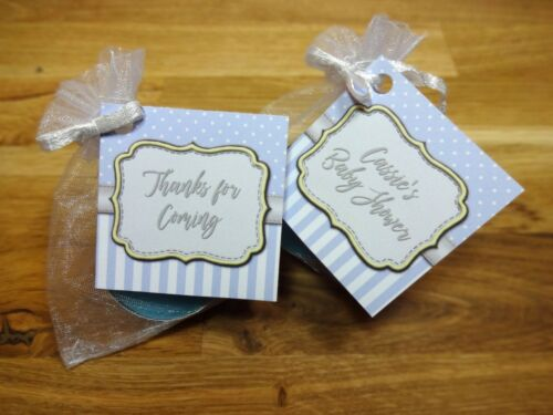 Baby shower scented candles favours tealights spots and stripes blue boy x10