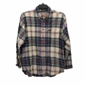 Woolrich-Mens-Button-Front-Shirt-Multicolor-Plaid-Flannel-Long-Sleeve-Pocket-L