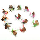 12Pcs Wet Dry Trout Flies Fly Fishing Bass Lure Hook Stream Vintage Tackle