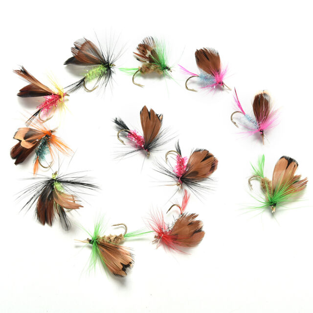 12Pcs Wet Dry Trout Flies Fly Fishing Bass Lure Hook Stream Vintage Tackle EB