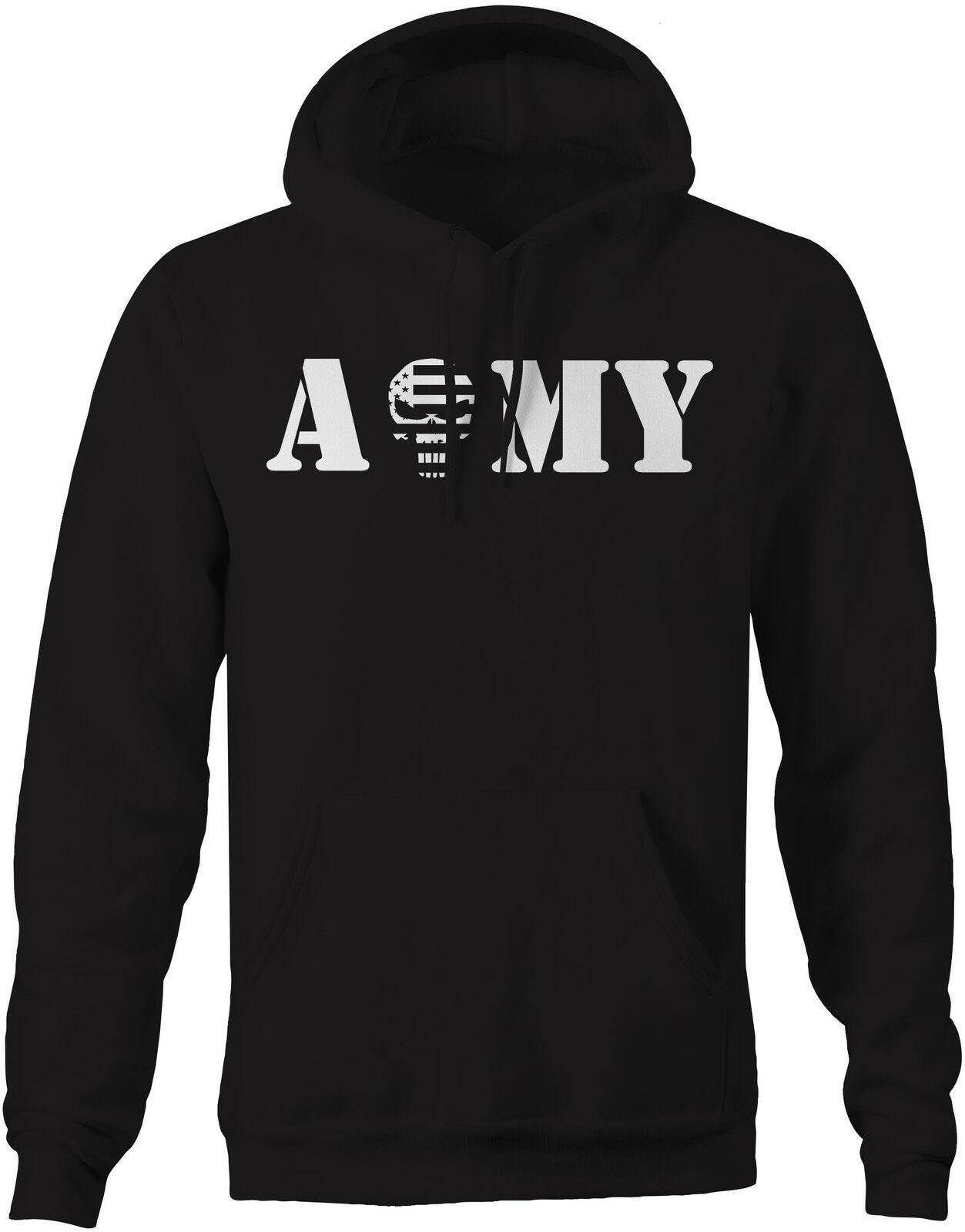 ARMY Punisher US Flag Spike Skull - Military Police Sweatshirt