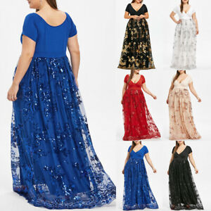 Women-039-s-Plus-Size-V-Neck-Short-Sleeve-Floral-Sequined-Evening-Party-Mesh-Dress