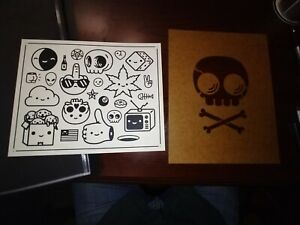 Mike Mitchell skully template and flash sheet fat kingdom screenprint