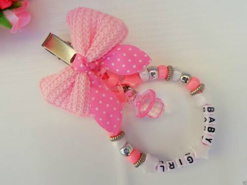 Pram charm  in Pink Set of 2 Personalised minnnie mouse dummy clip