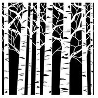 The Crafters Workshop 6 X 6 Stencil Aspen Trees Tcw252s
