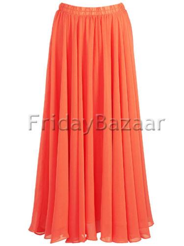 TurquoiseChiffon 2 Layer Reversible Long Skirt Full Circle S~3XL25 Color