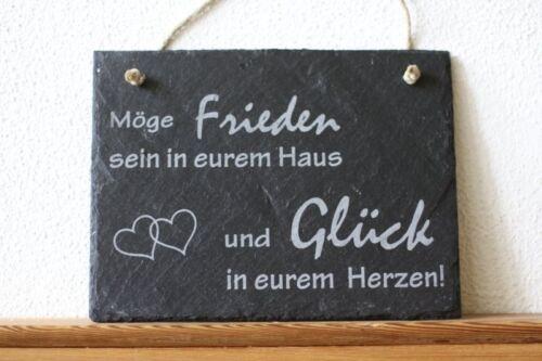 Schiefer Türschild Haussegen Wandbild Schild ...und Glück in Eurem Herzen Herz