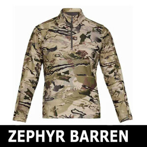 MENS-UNDER-ARMOUR-UA-ZEPHYR-FLEECE-CAMO-SHIRT-1-4-ZIP-LS-BARREN-1316863-999-2XL