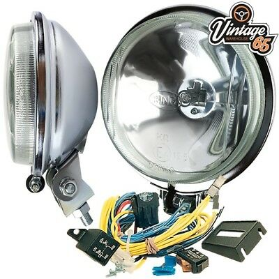 """Fiat 124 126 127 500 Retro Ring 4 1//2/"""" Driving Lights Spot Lamps Covers /& Wiring"""