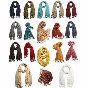 Silky-Touch-Super-Soft-Solid-Scrunch-Tasseled-Wrap-Scarf-18-Colors