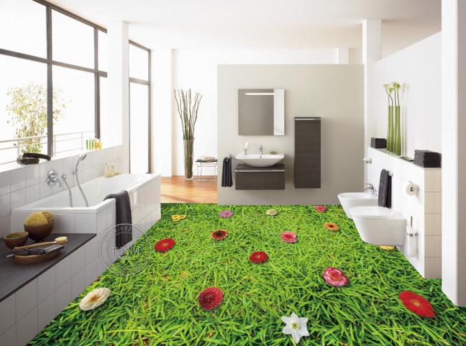 3D Grass Flowers 50 Floor WallPaper Murals Wall Print 5D AJ WALLPAPER UK Lemon