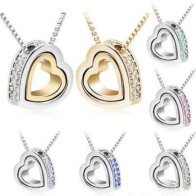 Hot Womens Love Heart Crystal Pendant Long Chain Necklace Silver Plated Jewelry