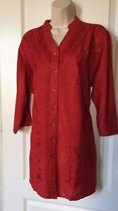 Blouse-Top-Tunic-Shirt-Women-039-s-Size-2-X-3-4-Sleeves-V-Neck-Embroidered-Plus-New