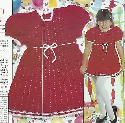 Crochet Pattern ~ Little Girls Red Dress Girl ~ Instructions