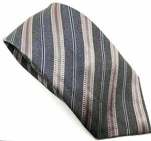 """Next Herren Krawatte grau rosa gestreift Seide Wollmischung 3.5"""" Breite 60"""" Länge"""