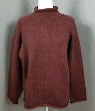 J Crew M Roll Neck 100% Wool Fisherman Sweater M Vintage 90s Maroon Red