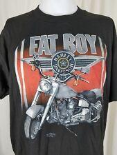 Vintage Harley Davidson Fat Boy 3D Emblem 90s Tee T-Shirt Mens XL 50/50 Black