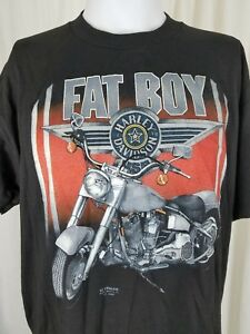 Details About Vintage Harley Davidson Fat Boy Emblem 90s Tee T Shirt Mens Xl 50 Black