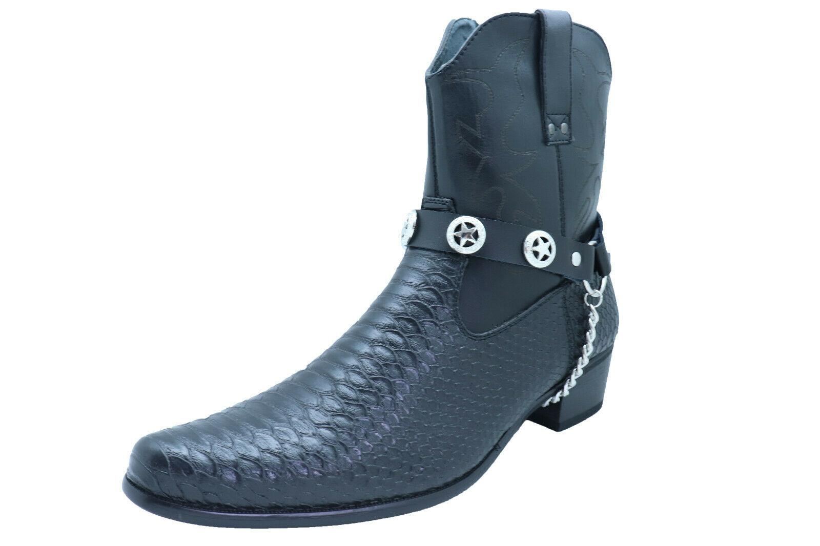 Biker Men Western Boot Silver Chain Black 2 Straps Texas Lone Star Charm Rocker