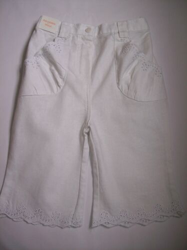 BNWOT GIRLS MINI MODE WHITE LINEN BLEND CROP TROUSERS AGES 6-9 /& 9-12 MONTHS